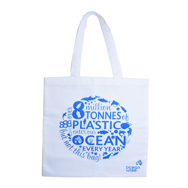 """Tote bag with message """"8 tonnes of plastic enter our ocean...."""""""