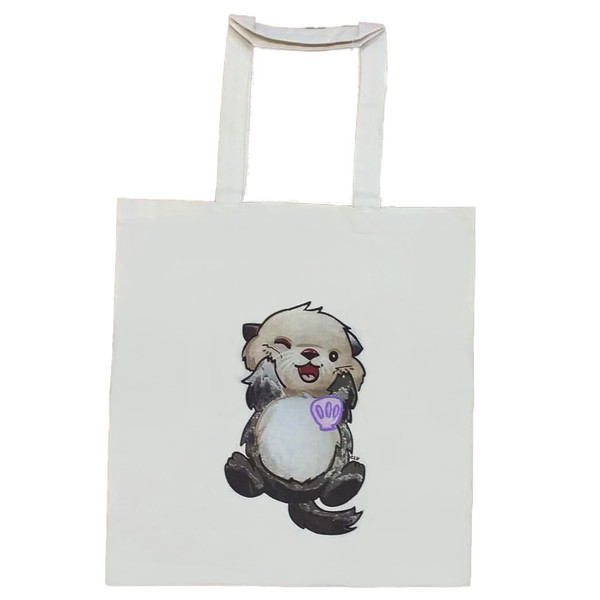 Cotton tote bag with cute sea otter picture