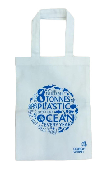 Cotton tote bag with message, 8 million tonnes of plastic enter our oceans, but not this bag