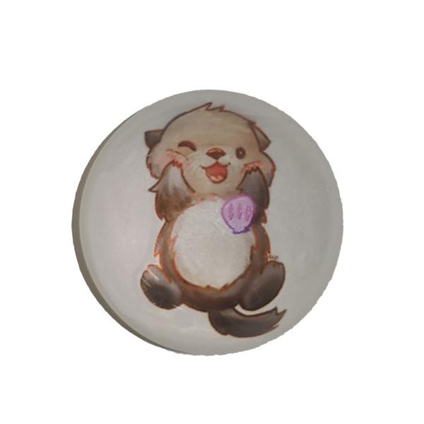 Cute Sea Otter magnet, round