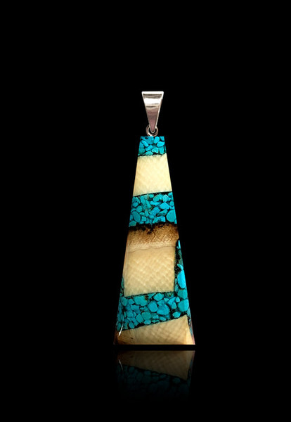 Turquoise and Mammoth Ivory Flare Pendant