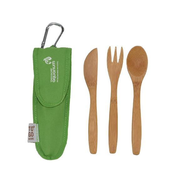 Kids Bamboo Cutlery Set, green case
