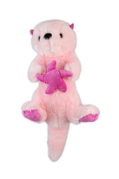 Sea Otter Stuffy, pink, holding a sea star