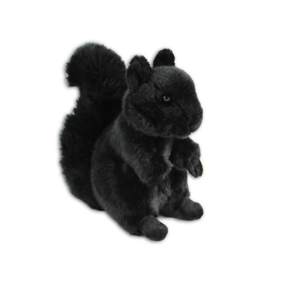 Black squirrel stuffy with furry exterior.