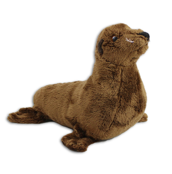"""9"""" brown fluffy sea lion stuffy with whiskers."""