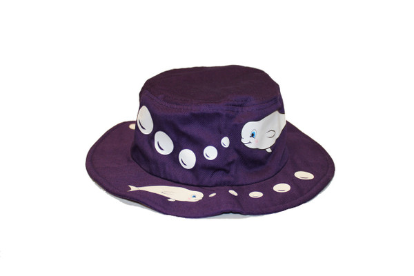 Purple bucket hat designed with white stitching of  beluga whales and bubbles.