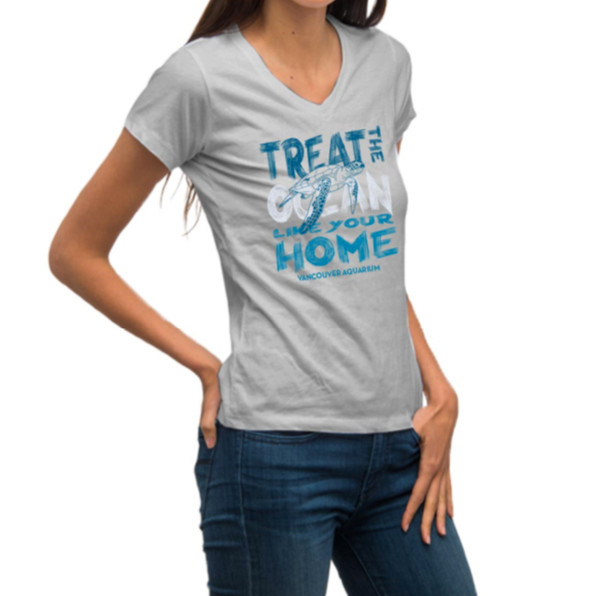 Treat the Ocean like your Home - Adult V-Neck T-Shirt