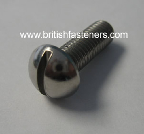 """BSF 1/4""""-26 x 1.25"""" SLOTTED STEEL ROUND HEAD SCREW"""