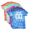 """Custom Volleyball Tie Dye T-Shirt """"Players with Net"""" Logo"""