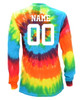 "Custom Soccer Tie Dye Rainbow Long Sleeve ""Soccer with Heart"" White Logo"