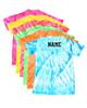"Custom Cheerleading Tie Dye T-Shirt ""One Team One Dream"" Black Logo"