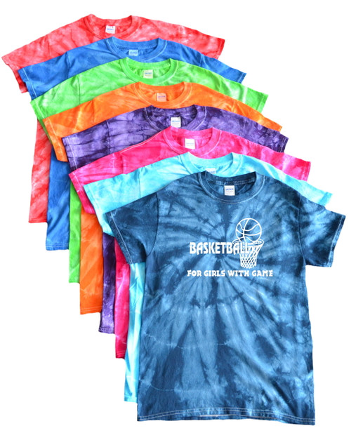 "Basketball Tie Dye T-Shirt ""For Girls with Game"" Logo"