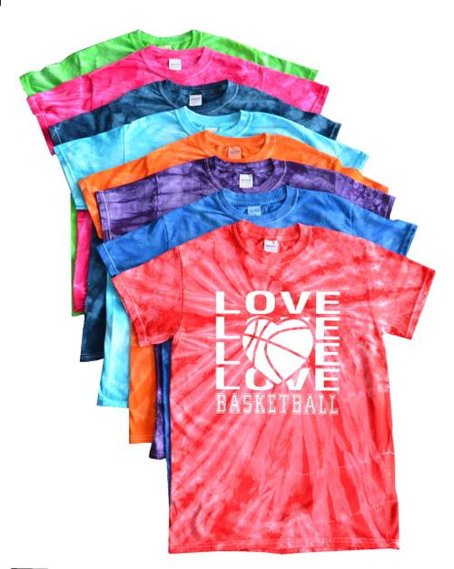 "Basketball Tie Dye T-Shirt ""Love Basketball"" Logo"
