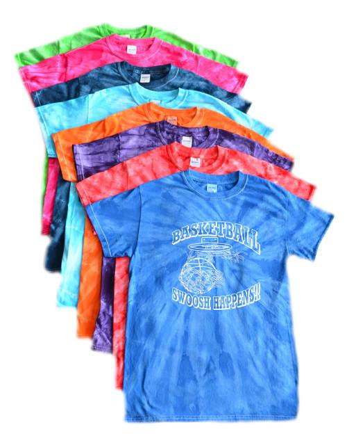 "Basketball Tie Dye T-Shirt ""Swoosh Happens"" Logo"