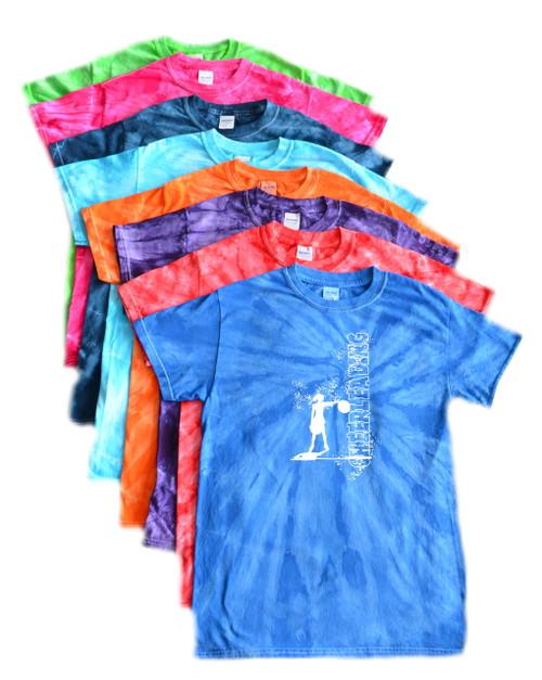 "Cheerleading Tie Dye T-Shirt ""Cheerleader"" Logo"