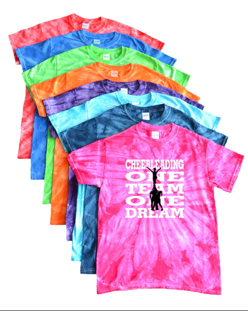 "Cheerleading Tie Dye T-Shirt ""One Team One Dream"" Logo"