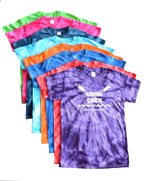 "Crew Tie Dye T-Shirt ""Rowing Chick"" Logo"