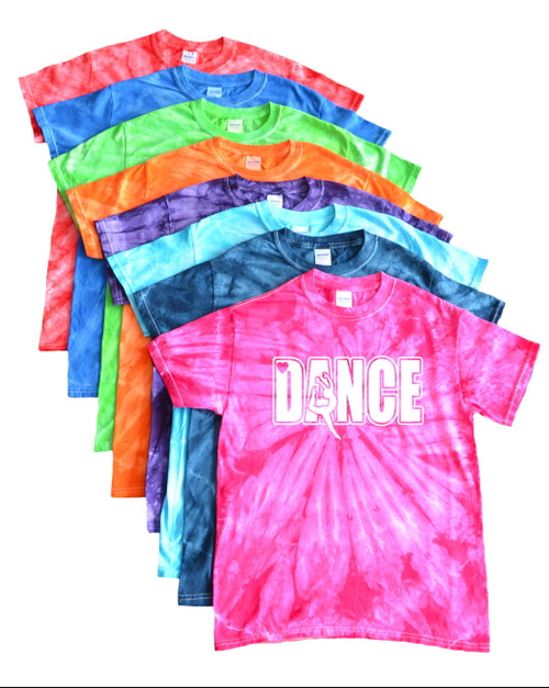 "Dance Tie Dye T-Shirt ""Dancer"" Logo"