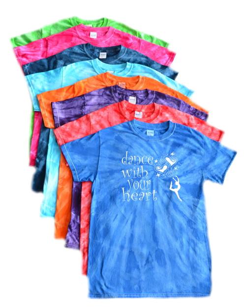 "Dance Tie Dye T-Shirt ""Dance with your Heart"" Logo"