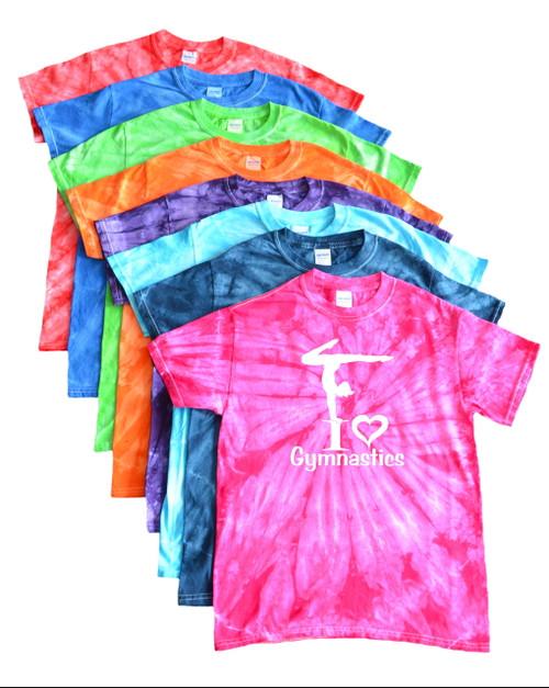 "Gymnastics Tie Dye T-Shirt ""I Love Gymnastics"" Logo"