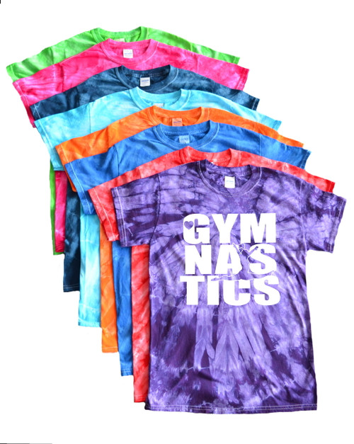 "Gymnastics Tie Dye T-Shirt ""Stacked"" Logo"