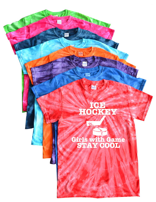 "Ice Hockey Tie Dye T-Shirt ""Girls with Game Stay Cool"" Logo"