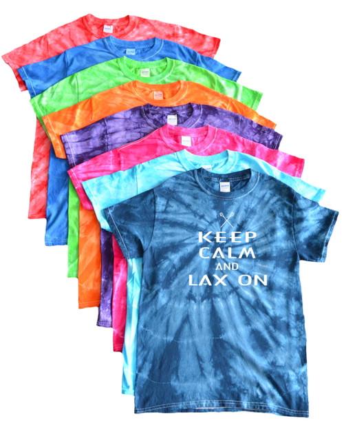 """Lacrosse Tie Dye T-Shirt """"Keep Calm Lax On"""" White Logo"""