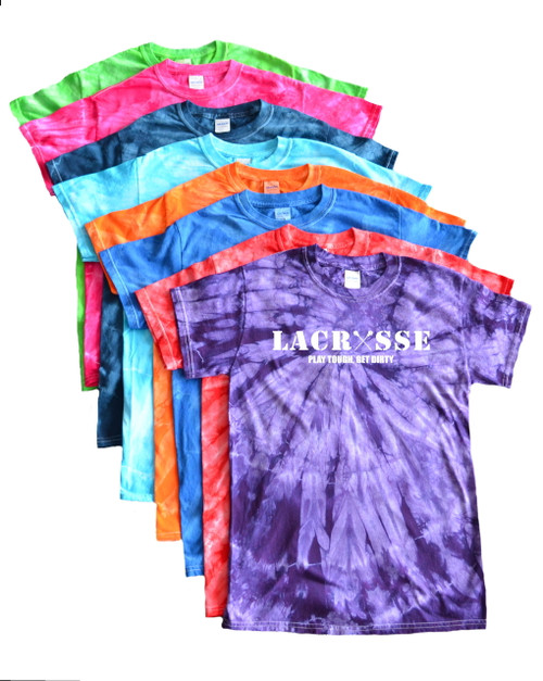 "Lacrosse Tie Dye T-Shirt ""Lacrosse"" White Logo"