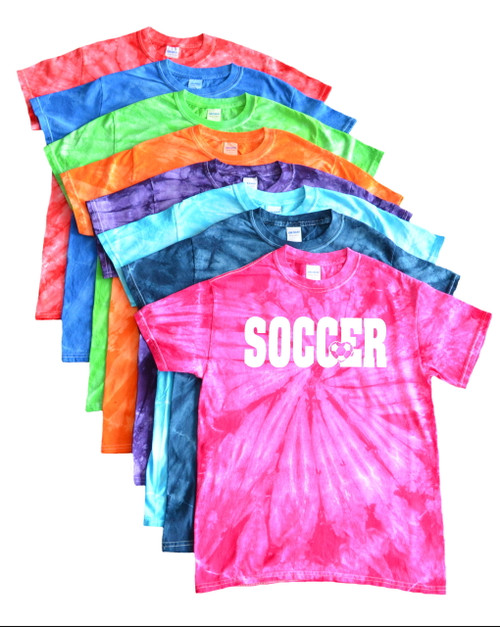 "Soccer Tie Dye T-Shirt ""Soccer with Heart"" White Logo"
