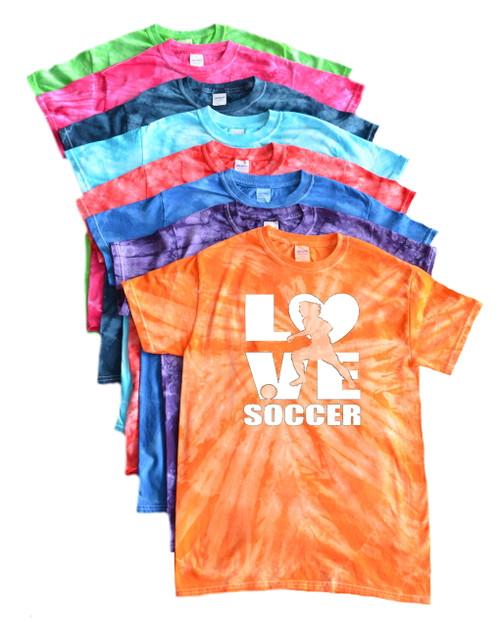 """Soccer Tie Dye T-Shirt """"Love Soccer"""" Logo"""