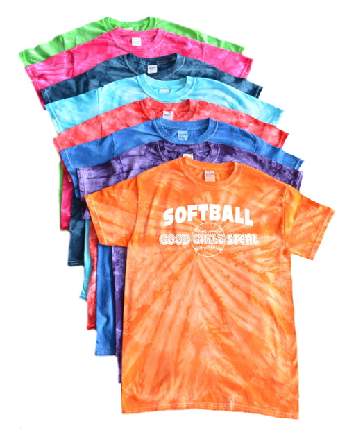 "Softball Tie Dye T-Shirt ""Good Girls Steal"" Logo"
