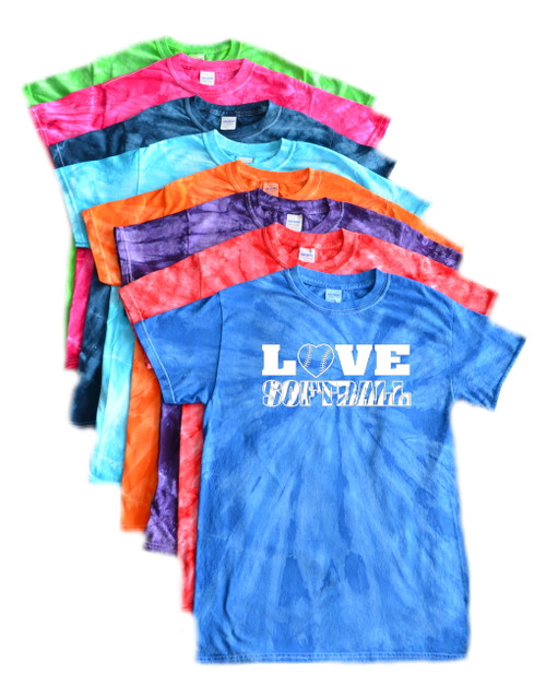 "Softball Tie Dye T-Shirt ""Love Softball"" White Logo"