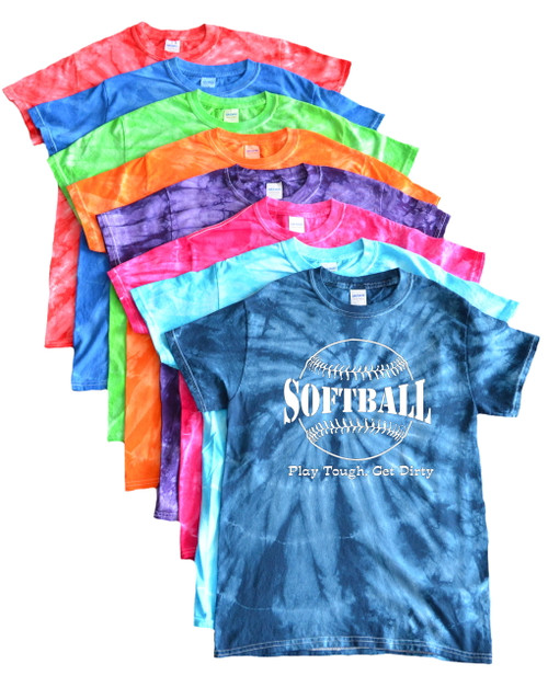 "Softball Tie Dye T-Shirt ""Play Tough Get Dirty"" Large Logo"