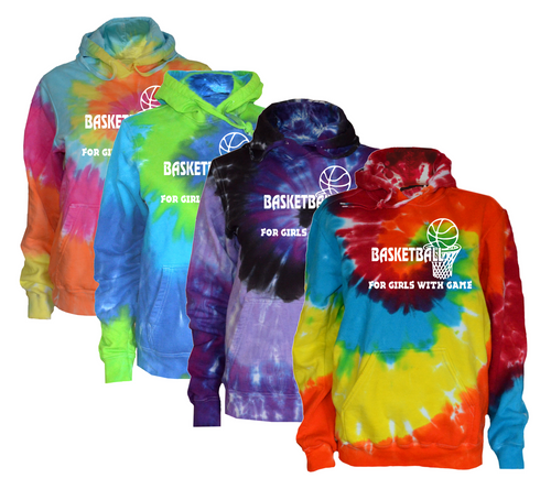 "Basketball Tie Dye Sweatshirt ""For Girls with Game"" Logo"
