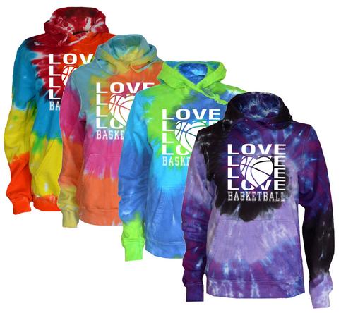 "Basketball Tie Dye Sweatshirt ""Love Basketball"" Logo"