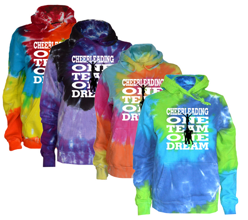 "Cheerleading Tie Dye Sweatshirt ""One Team One Dream"" Logo"