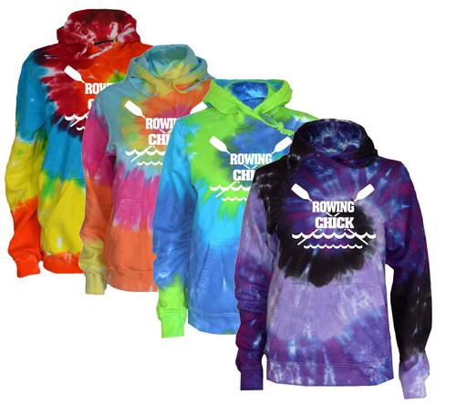 "Crew Tie Dye Sweatshirt ""Rowing Chick"" Logo"
