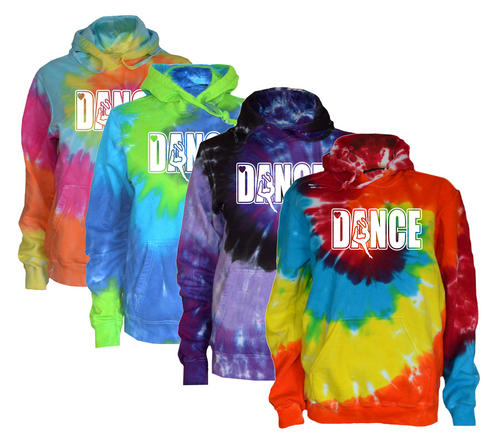 "Dance Tie Dye Sweatshirt ""Dancer with Heart"" Logo"
