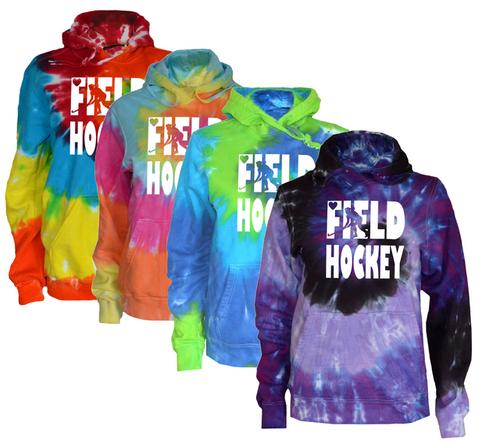 """Field Hockey Tie Dye Sweatshirt """"Stacked"""" Logo Customizable"""
