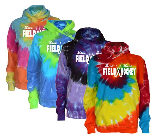 """Field Hockey Tie Dye Sweatshirt """"Live Love"""" Logo"""