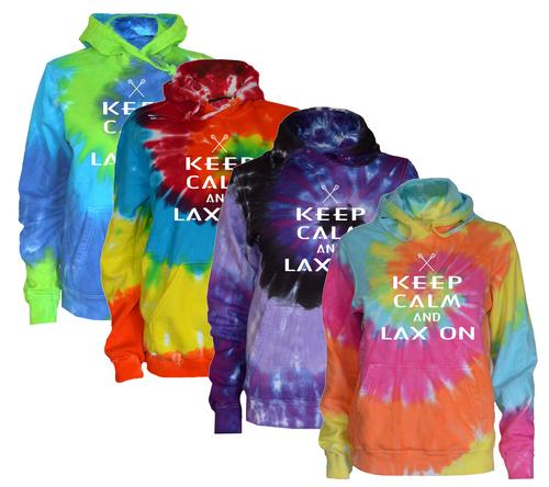 "Lacrosse Tie Dye Sweatshirt ""Keep Calm Lax On"" White Logo"