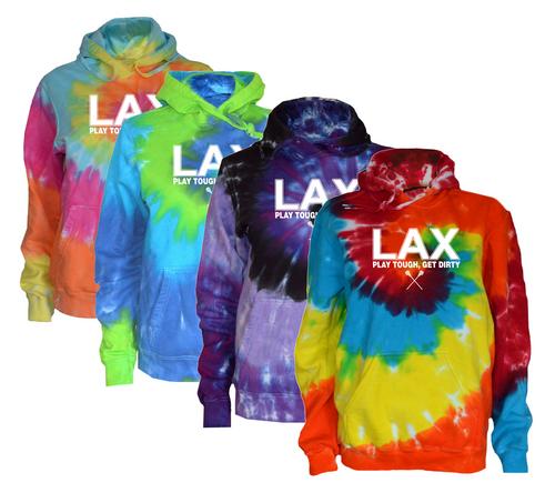 "Lacrosse Tie Dye Sweatshirt ""LAX"" White Logo"