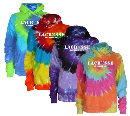 """Lacrosse Tie Dye Sweatshirt """"Lacrosse"""" White Logo"""