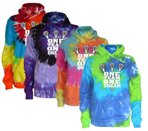 """Lacrosse Tie Dye Sweatshirt """"One Team One Dream"""" Logo"""