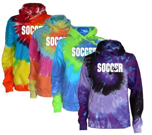 """Soccer Tie Dye Sweatshirt """"Soccer with Heart"""" White Logo"""