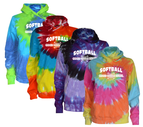 "Softball Tie Dye Sweatshirt""Good Girls Steal"" Logo"