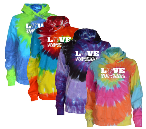 "Softball Tie Dye Sweatshirt""Love Softball"" White Logo"