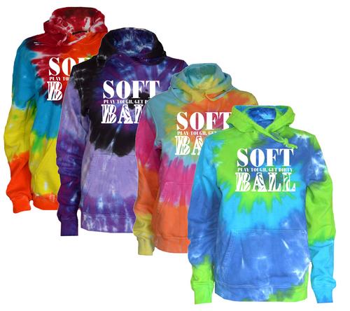 """Softball Tie Dye Sweatshirt """"Stacked"""" White Logo"""