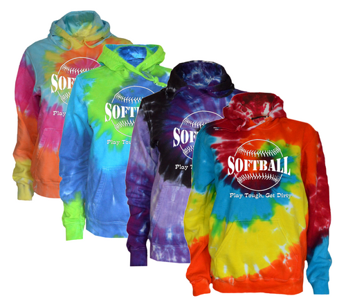 "Softball Tie Dye Sweatshirt""Play Tough Get Dirty"" Large Logo"