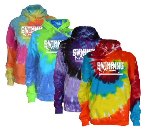 """Swimming Tie Dye Sweatshirt""""Swimmer in Action"""" Logo"""